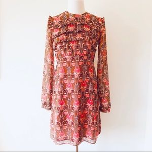 TOPSHOP FLORAL DRESS HIGH NECK & LONG SLEEVES SZ 6